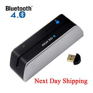 Details about One day ship Bluetooth MSR-X6BT Credit Card Reader Writer  Encoder MSR206 Swipe