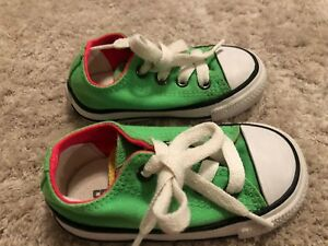 05a41a36f043 girls NEON GREEN PINK CONVERSE SNEAKERS shoes CANVAS clean! TIE size ...