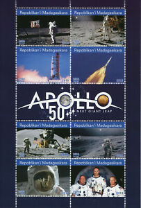 Madagascar-2019-MNH-Apollo-11-Moon-Landing-Neil-Armstrong-8v-M-S-Space-Stamps