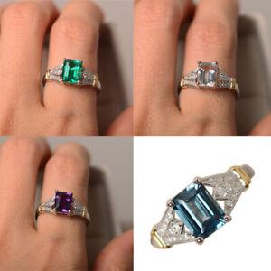 Elegant Silver Jewelry Women Wedding Rings Emerald Cut Amethyst Size 6-10