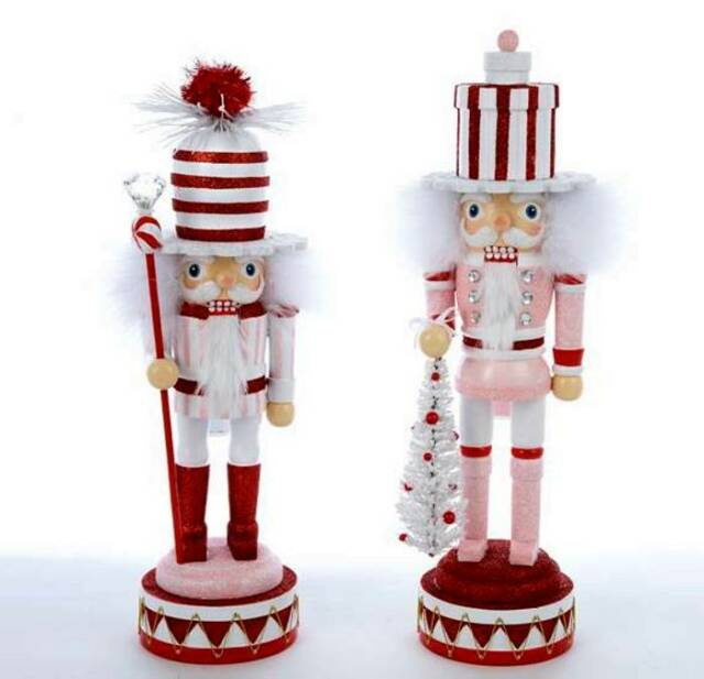 "2013 ADLER 2 ASSORTED 15"" HOLLYWOOD NUTCRACKERS W/STRIPED HATS, SWEET, FREE S/H"