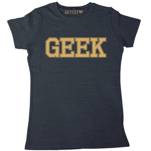 Geek femme t-shirt imprimé rétro nerd slogan tee