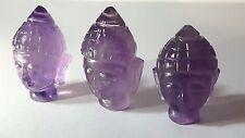 1 x Amethyst THAI BUDDHA HEAD Idol. Carved Gemstone Buddhist Spirituality     p1