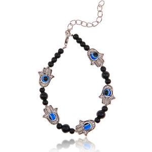 Tibet-Silver-Evil-Eye-Hamsa-Hand-of-God-Fatima-Charm-Bead-Chain-Bracelet-New