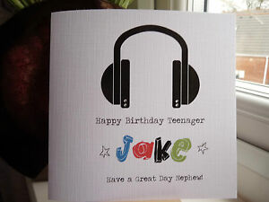Image Is Loading Handmade Personalised Boys Music Birthday Card Son 10