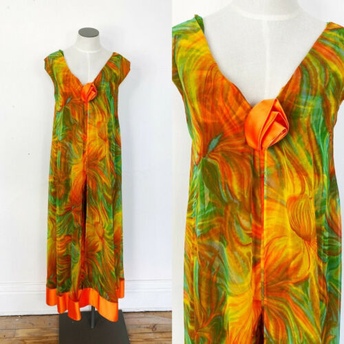 1960s jumpsuit - psychedelic floral jumpsuit with