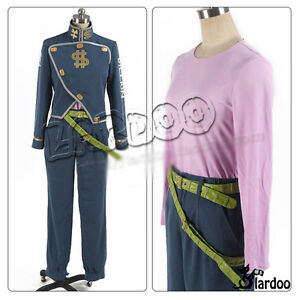 JoJo/'s Bizarre Adventure Nijimura Okuyasu Cosplay Costume Blue Uniform Full Set