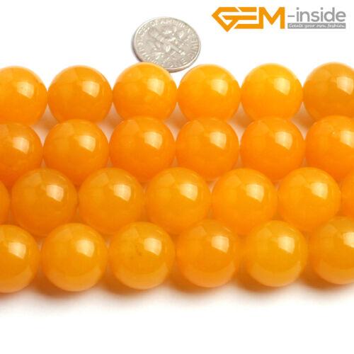 "Round Gemstone Yellow Jade Loose Stone Spacer Beads For Jewellery Making 15/"" CA"