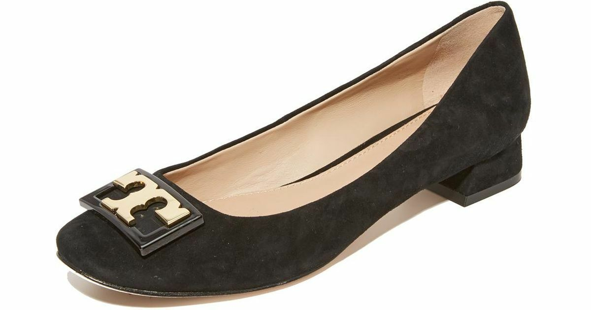 Tory Burch ' Gigi ' gold Logo Low Heel Pump Black Suede shoes  6.5 gold Logo