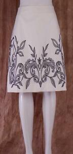 NIC-ZOE-NWT-144-Paper-White-with-Black-Embroidery-Sz-12-Lined-Skirt