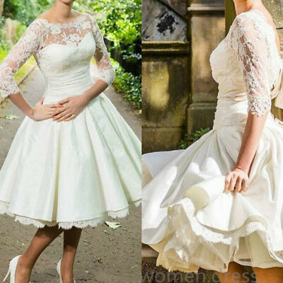 Short 34 Sleeve Wedding Dresses 2019 Vintage Knee Length Bridal Gown Custom Ebay