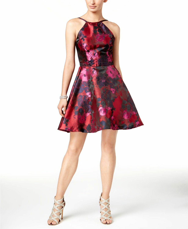 NEW  XSCAPE damen rot Rosa FLORAL SLEEVELESS FIT & FLARE HALTER DRESS Größe 4
