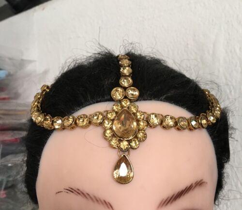 ANTIQUE GOLD KUNDAN HAIR HEAD CHAIN HEADPIECE HEAD JEWELLERY MATHA PATTI
