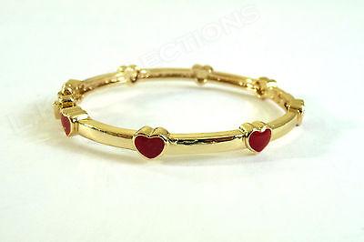 Red Enamel Hearts Gold Plated Over Brass Todder Bracelet Baby Girl NEW 39MM