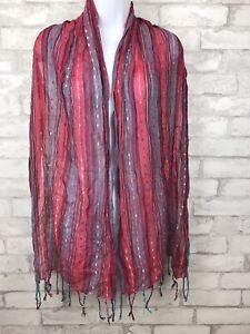 "Boho Striped Woven Scarf Wrap- Pink Blue With Fringe Metallic Thread  69x19"""