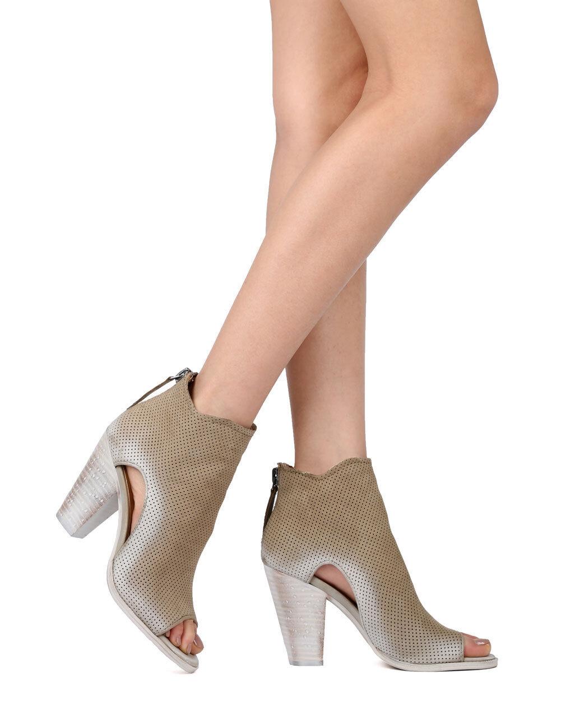 New Women Dolce Vita Harem Nubuck Perforated Peep Toe Stacked Heel Bootie