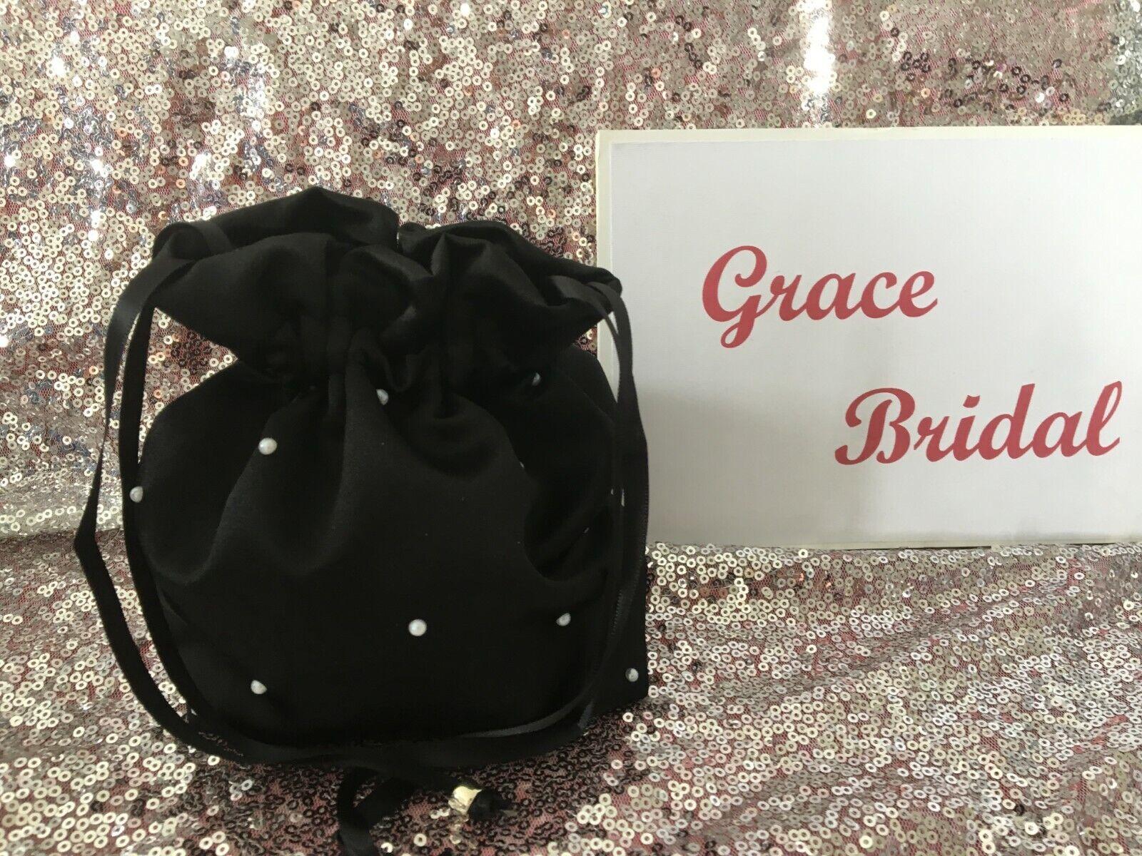 BLACK PEARL DUCHESS SATIN DOLLY BAG B/MAID FLOWER GIRL **free swatches**