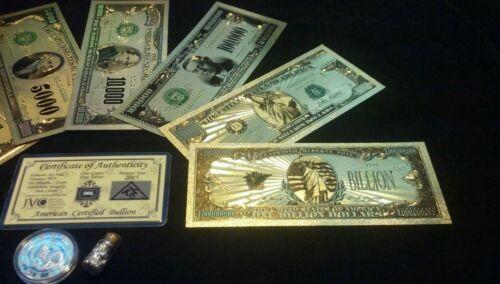 Coin//Flake~ /<FULL MINT SET W//COA/>~1928 SERIES~GOLD BILLS $500-$1B~Rep*Banknotes