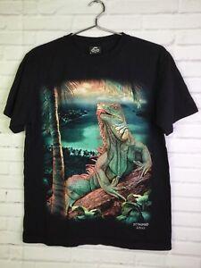 Caballo-3D-Textured-Lizard-Iguana-Graphic-St-Thomas-Virgin-Island-T-Shirt-Size-M