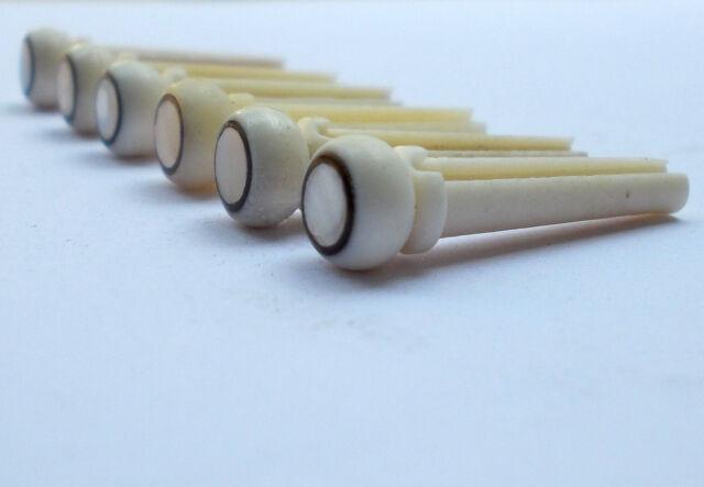 String Pegs 6 x NEW High Quality Bone Bridge Pins for acoustic guitars Plain