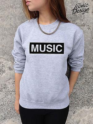 MUSIC Fashion Slogan Jumper Top Sweater Indy Rock Rap Punk Hipster Retro Tumblr