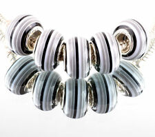 STRIPED MURANO CHARM BEAD BLACK GREY WHITE Fits most European charm bracelets x1
