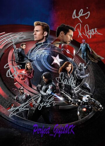 Captain America Civil War Cast 10x8inch Pre-Print Signed Autographed Photo