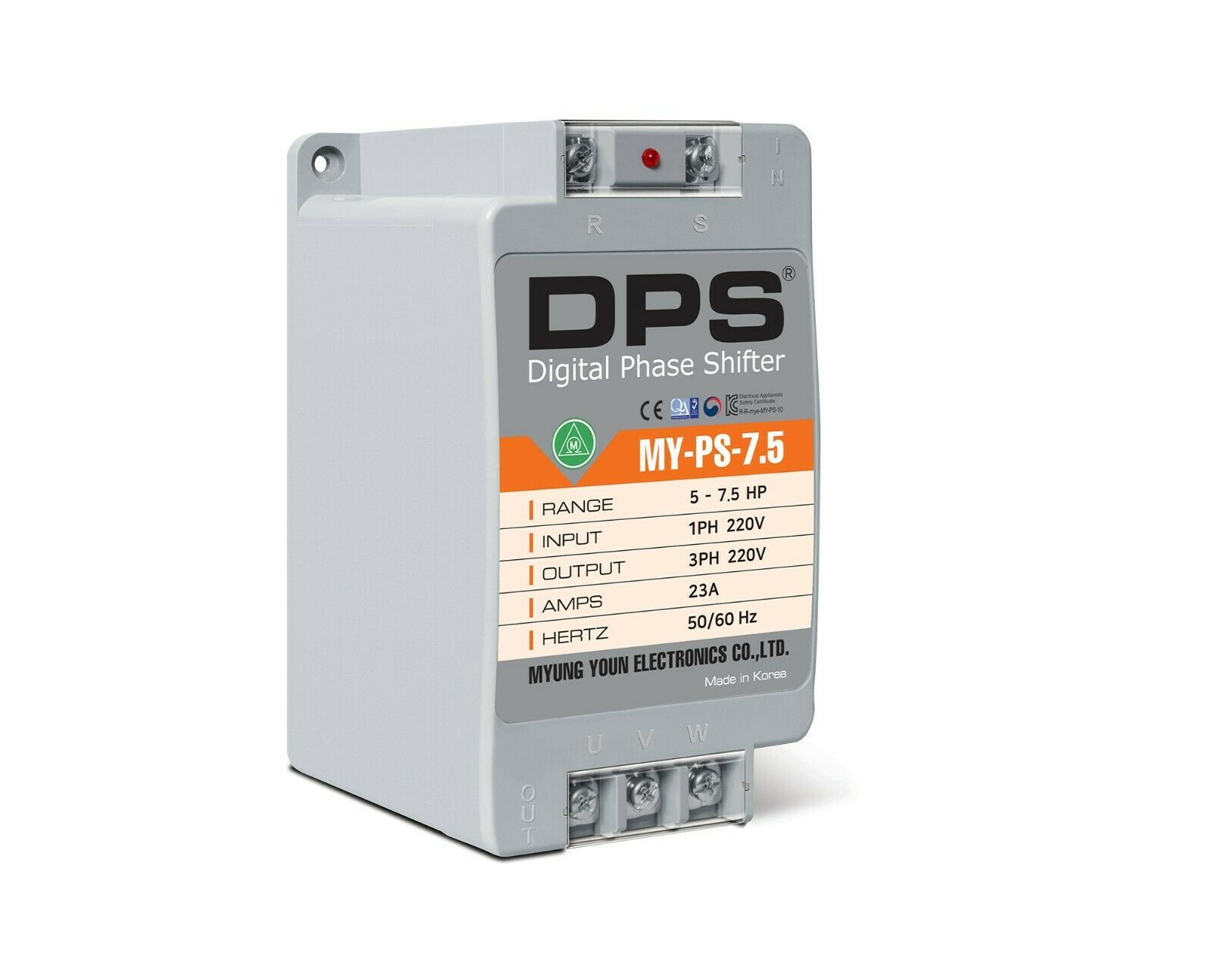 1Phase to 3Phase Converter, MY-PS-7.5, Best for 5HP(3.7KW) 15 Amp 200-240V Motor