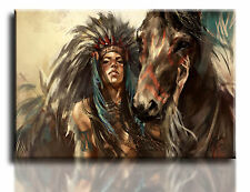"Large Wall Art Canvas Picture Print Red Indian Woman Framed 20""x30"""