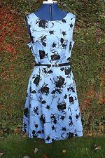 New Et Vous Blue & Black flowered scoop neck sleeveless cotton Tea Dress size14