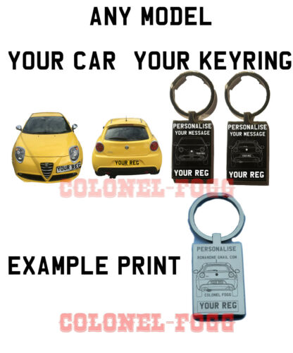 Your Car Engraved with Customised Message and Personal Number Plate Keyring