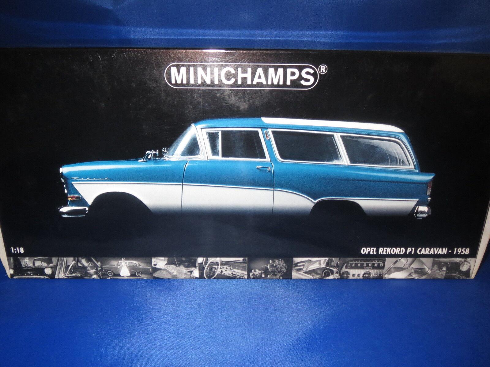 Nouvelle génération, nouveau choix Minichamps OPEL OPEL OPEL record p1 Caravane (1958) (Bleu métallisé) 1:18 OVP!!!   Les Consommateurs D'abord  159c0e