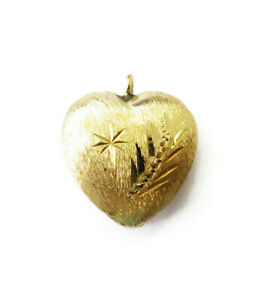 14K-Yellow-Gold-Puffed-Puffy-Heart-Charm-Necklace-Pendant-0-7-g