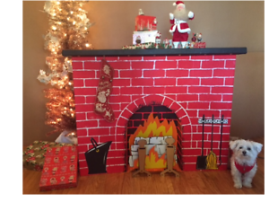 Cardboard Christmas Fireplace.Details About New 3d Christmas Cardboard Fireplace Decoration Standee Logs Flames Andirons