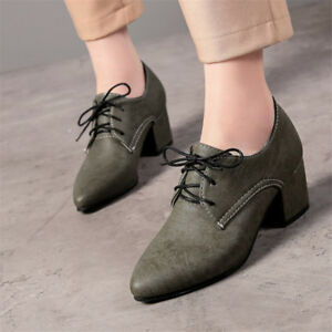 5b538c6cdcfc2 Details about Vintage Women's Lace-up Pointed Toe Chunky Mid Heels Oxford  Casual Leather Shoes