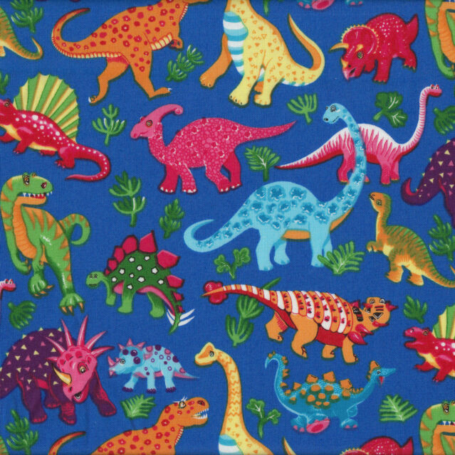 Dinosaurs Royal Blue Kids Boys Childrens Animals Quilt Fabric FQ or Metre NEW