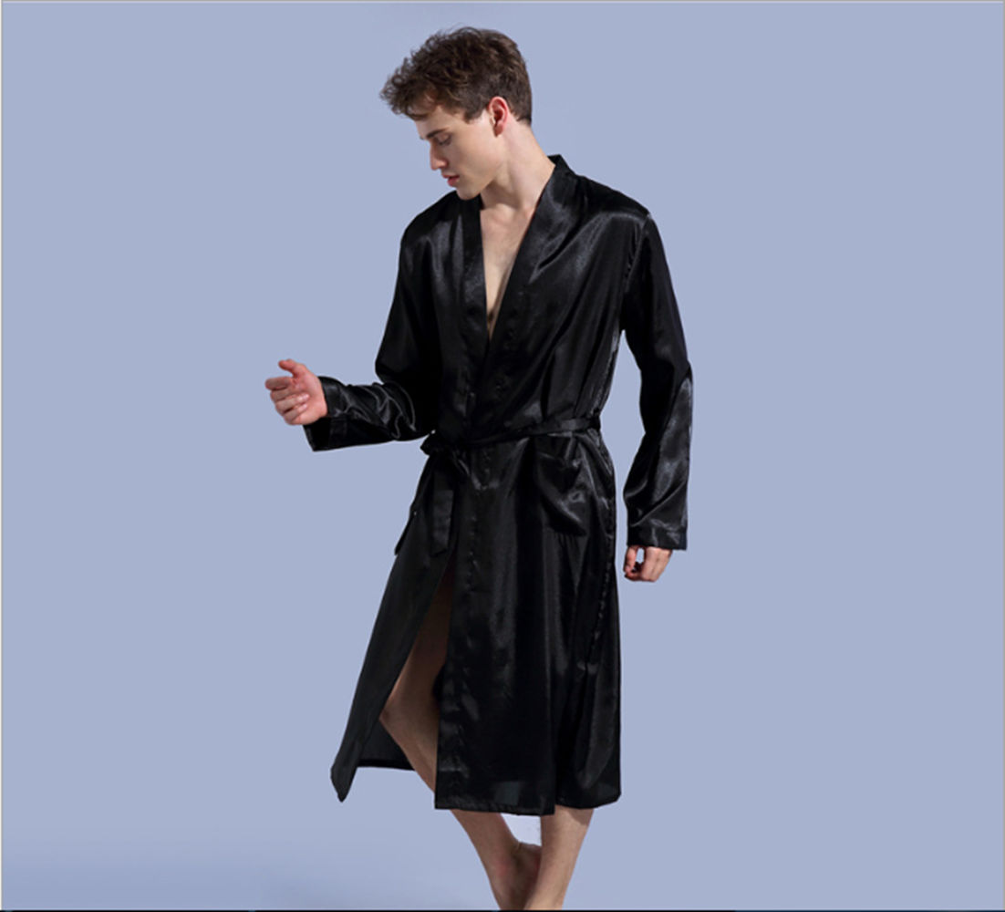 Men Robe Nightgown Satin Silk Robe With Belt Thin Bath Gown Mens Bathrobes Solid Color Plus Size Robe S M L Xl Xxl Robes Sleep Lounge