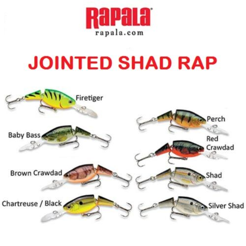 "1-1//2"" 3//16 oz Rapala Jointed Shad Rap Choice of Colors JSR-04"