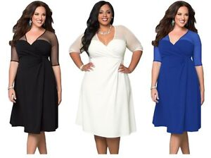 Details about New Womens Plus Size 1X 2X 3X Black White Blue Career Work  Office Evening Dress