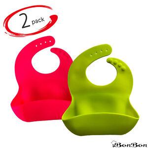 BonBon Waterproof Silicone Bib 2Pack Soft Safe Baby Bibs - Set of 2 (Pink/Green)