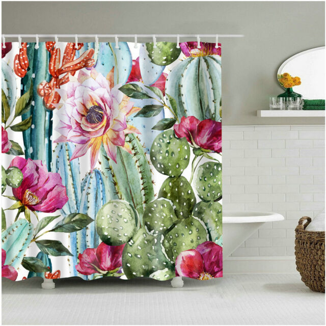 """Different Plant Cactus Types 72x72/"""" Bathroom Polyester Fabric Shower Curtain Set"""