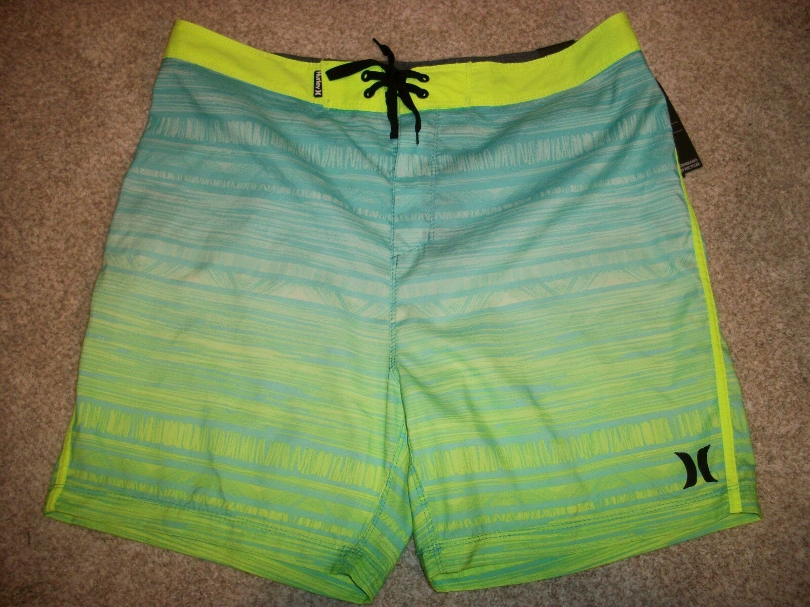 HURLEY New NWT Mens Board Shorts Swim bluee Green Yellow 38