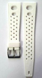Silikon Tropic Estate Cinturino Orologio 20mm Weiss Con Fori da Corsa/ 20