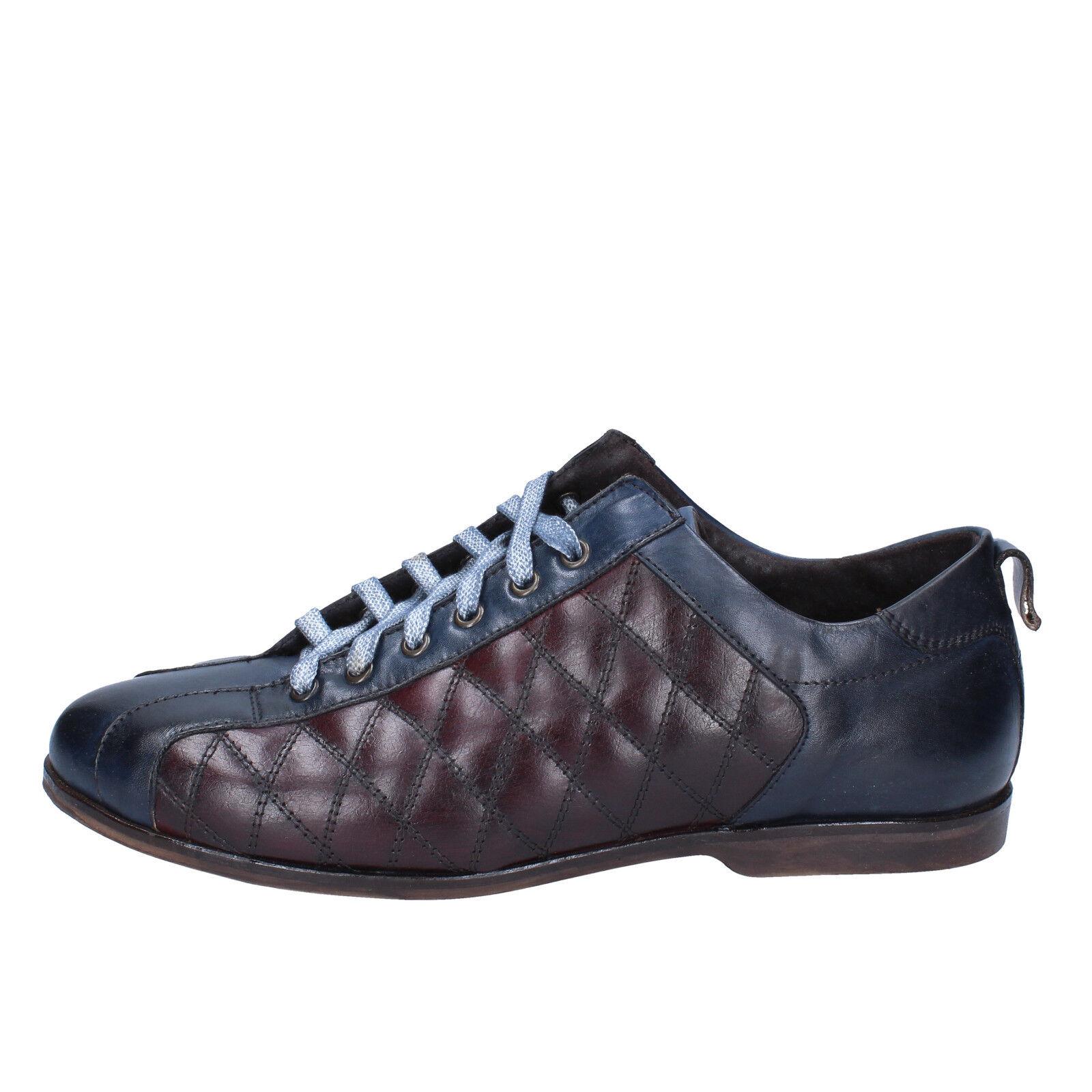 Mens shoes EVC 11 (EU 45) elegant burgundy bluee leather BX611-45