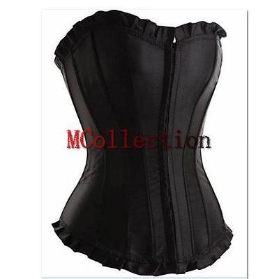 Lingerie Black Satin Evening Sexy Corset Boned Bustiers TOP PLUS Size S-6XL