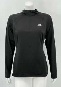 The North Face Womens 1/4 Zip Base Layer Large Solid Black Stretch Long Sleeves
