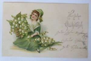 Children-Fashion-Flowers-Lily-of-the-Valley-1905-Embossed-Postcard-34300
