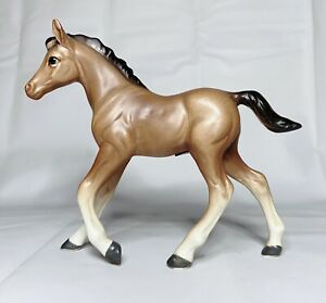 Vintage-Horse-Figurine-Lefton-Japan-Brown-Colt-Mare-4-5-Pony-2212-Foil-Label