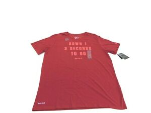 Nike Shirt Red Dri-Fit Graphic Down 3 Seconds Just Do It Short Sleeve Men XL
