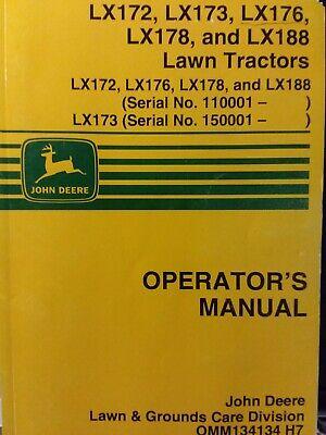 John Deere Lx172 Lx173 Lx176 Lx178 Lx188 Lawn Tractor Owners Manual S N 110001 Ebay